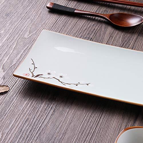 Messen Pie Plate (Kreative Platte Sushi Platte spezielle Restaurant Blume Porzellan Gebäck Snacks für kreative rechteckige kreative Platte Kirschpflaume Pflaume 10,5 Zoll)
