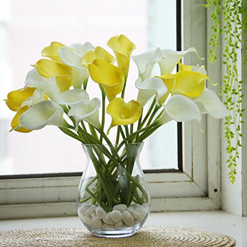 DaDago 10Pcs Latex Artificiels Calla Lis Fleurs Mariage Fleurs Bouquet De Mariée - Jaune