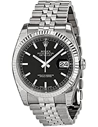 Rolex Mens New Style Heavy Band Stainless Steel Datejust Model 116234 Jubilee Band 18K White Gold Fluted Bezel Black Stick Dial
