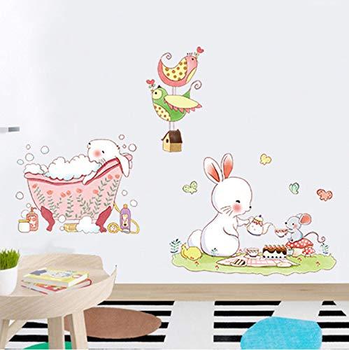 Cartoon niedlichen kaninchen dusche wandaufkleber kunst dekoration für wohnzimmer abnehmbare diy zimmer kinder kindergarten kinderzimmer abziehbilder wandbilder (Für Junge Dekorationen Baby-dusche Eule)
