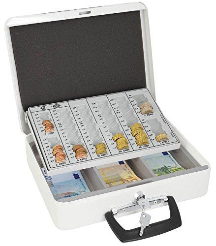 Wedo 150658000 Geldzählkassette Europa (pulverbeschichtetes Stahlblech, für Münzen und Banknoten, mit Tragegriff, 31,5 x 24,5 x 9,5 cm) weiß