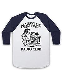 Stranger Things Hawkins Middle School Radio Club 3/4 Manches Retro T-Shirt de Base-ball