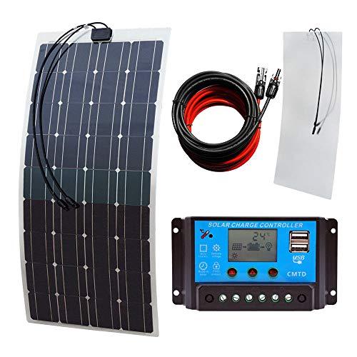 Ecoworthy 18 V 100 W flexibles Solarpanel & 20 A 12 V / 24 V LCD Controller & 5 m Solarkabel für 12 V Batterie Off-Gitter/Backup Solar Stromsysteme Boot Wohnwagen Grid Tie Batterie-backup