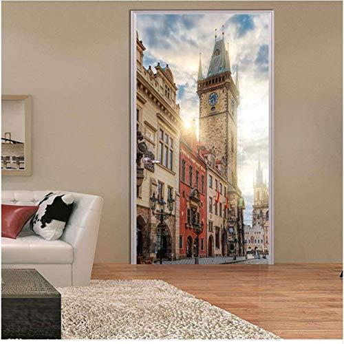 Newberli Platz Glockenturm Dekorative 3D Tür Aufkleber Hause Tür Shop Wohnzimmer Schlafzimmer Dekor Fenster Kühlschrank Raumdekoration Niedrigen Preis