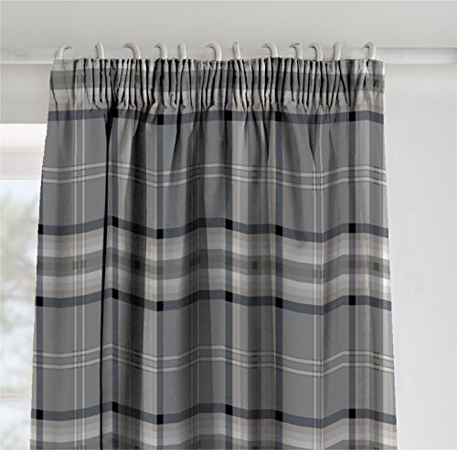 Catherine Lansfield Kelso Easy Care Pencil Pleat Curtains Charcoal, 66×72 Inch