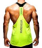 Camisa Camiseta Hombre Tirantes Culturismo Fitness Deportiva. Ropa Deporte Masculina para Entrenar Gym (EA/Amarilla) - L