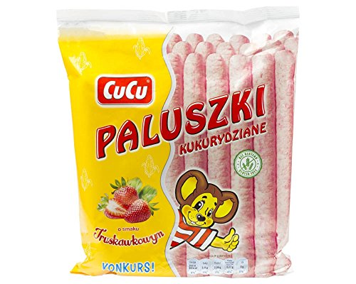 Maisflips mit Erdbeergeschmack 80g Cucu I Polnisches Gebäck & Knabberei