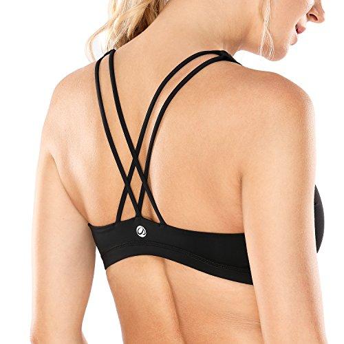 Crz yoga donna reggiseno sportivo yoga spalline incrociate imbottite nero m