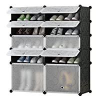 Salamaya DIY Interlocking Shoe Rack Shelves Closet Wardrobe Cube Storage Organiser Cabinet Plastic Cupboard Portable Shoe Storage Organzier Tower for Shoes, Toys 2/5
