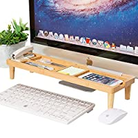 Saving Bamboo Desk Organiser, AhfuLife® Small Objects Storage Keyboard Commodity Shelf with 6 Compartments Anti dust Shelf Over Keyboard for Smartphone, ipad, notepads, and More