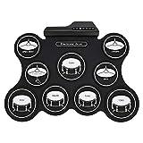 Neues Instrument Tragbares elektronisches Roll Up Drum Kit 9 Pad Faltbares Digitales Drum Kit Silicon Übungspad USB MIDI Drum Set Kopfhörerausgang mit 5 Timbres und 8 Demo-Songs für Anfänger und Kinde