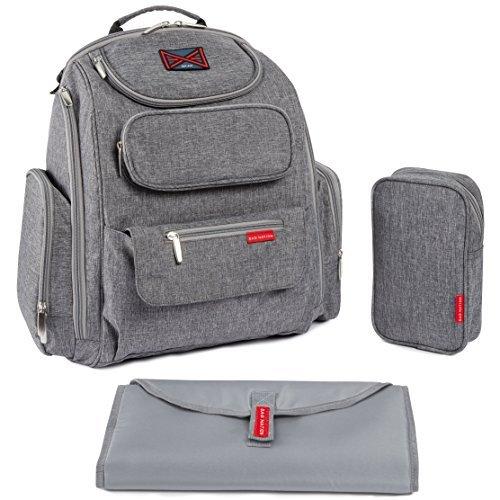 Imagen para Bag Nation - Mochila para pañales con correas para cochecito, cambiador y bolsa para el sol gris Talla:L