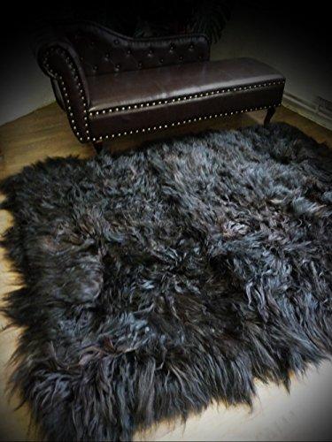 ISLAND - SCHAFFELLTEPPICH SCHAFFELL TEPPICH UNIKAT 180x200cm schwarz - braun SFT-580 (Schwarze Schafe Haut)