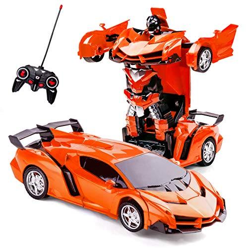 Highttoy RC Auto für Kinder,Geburtstagsgeschenk für Kinder im Alter von 4-14 Fernbedienung Transformieren Roboterauto für 3-12 Jahre alt Mädchen Transformator Auto Roboter Spielzeug für Kinder Orange