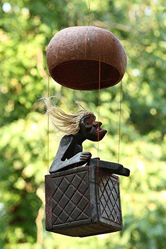 Handgefertigt aus Holz Primitiv Tribal Statue Riding Heißluftballon Tiki Bar handgefertigt Geschenk Home Decor