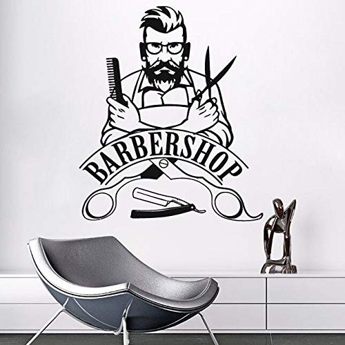 JXMK Wandaufkleber Barber Shop Logo Wandtattoo Abnehmbarer Hipster Vinyl Aufkleber Beauty Salon Fensteraufkleber Barber Shop Dekoration 42x51cm -