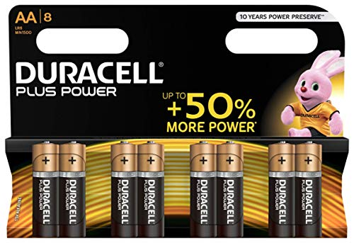 Duracell Plus Power Batterie Alcaline, Stilo AA, Confezione da 8