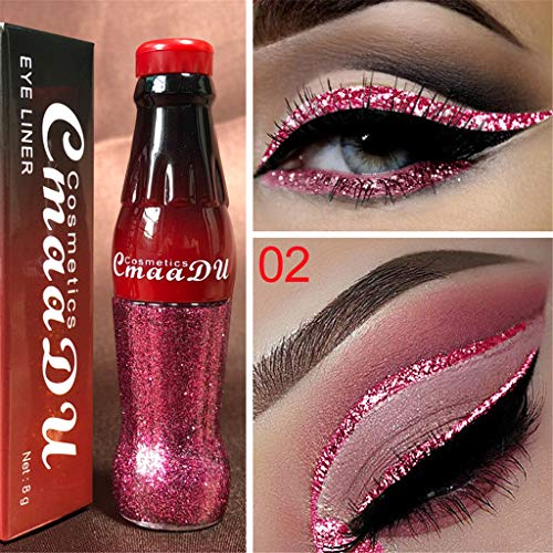 Beauty-Make-up Organizer Kosmetik Zubehör Make Up Beauty-Zubehör,Metallic Shiny Smoky Eyes Lidschatten Wasserdichter Glitter Liquid Eyeliner