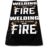 Jxrodekz Welding Its Like Sewing with Fire ~· Multipurpose Soft Highly Absorbent Cotton Hand Towels Quick Dry for Dai