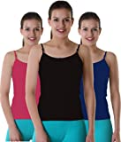 Suruthi Women's Adjustable Multicolour Cotton Camisole / Slips Combo (Pack of 3)