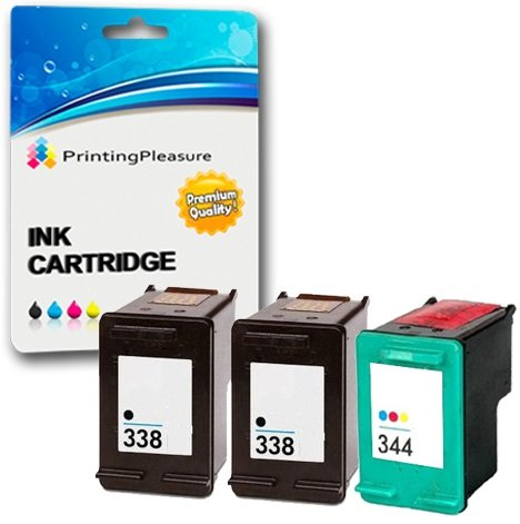 Printing Pleasure 3 Tintenpatronen kompatibel zu HP 338 344 für DeskJet 460 460c 460cb 6620 6840 9800 9860 Photosmart 2575 Pro B8330 Officejet 100 Mobile 6210 7210 7310 - Schwarz/Color, hohe Kapazität -