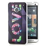 Saxonia HTC One M7 Hülle Slim Hard Back Cover Schutzhülle mit Motiv LOVE