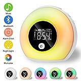 Linkax Lampada Sveglia da Comodino,Wake up Light con Bluetooth, Lampada da comodino, per bambini, festa, camera da letto, campeggio