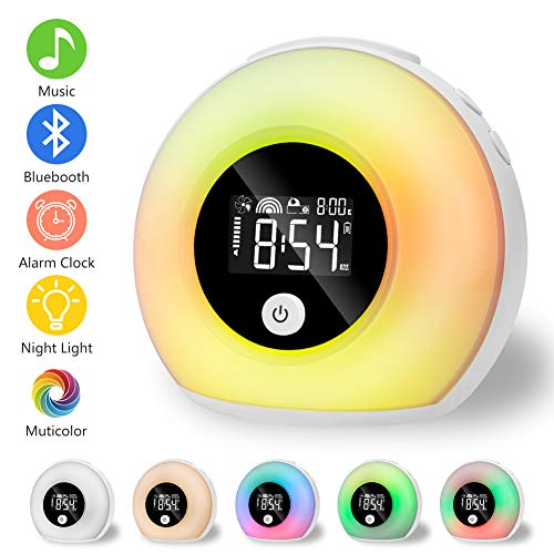 Linkax Wake Up Light Despertador Luz, LED Luces Despertador luz Nocturna, Luz colorida con altavoces...