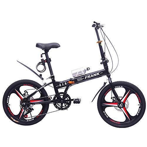 FJW Bici Pieghevole Unisex 20 Pollici Ruote a 3 Razze Telaio in Acciaio ad Alto tenore di Carbonio 7 velocità con i Freni a Disco Alunno Bambino Commuter City Bicicletta,Black