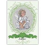 100er Set Schöne Business Weihnachtskarten mit Engel in Medaillon, innen weiß als geschäftliche Weihnachtsgrüße, Neujahrskarte, Firmen Weihnachtskarter: Ein schönes Fest