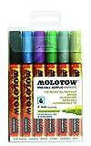 Molotow Acryl Marker One4All 227HS Etui Metallic-Set (4 mm Spitze, hochdeckend und permanent, UV-Beständig) 6 Stück sortiert