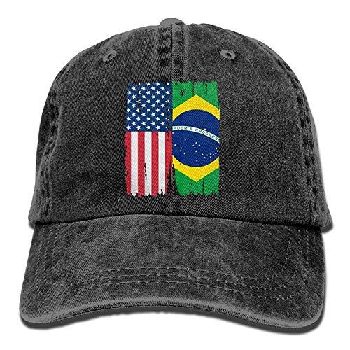 90169313ea0 ferfgrg 2018 Adult Fashion Cotton Denim Baseball Cap American Brazil Flag  Classic Dad Hat Adjustable Plain