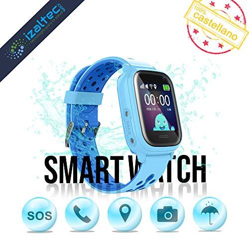 Smartwatch para niños con localizador GPS, Llamadas y cámara de Fotos. Reloj Inteligente acuático con IP67 para niños de 3 a 13 años (Azul)
