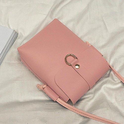 Longra Sacchetto del telefono mobile del sacchetto singolo di colore solido delle donne Rosa
