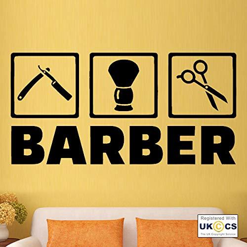 hnxdp barbiere bellezza capelli parrucchiere adesivi murali arte adesivo vinile camera rosa 42x85cm
