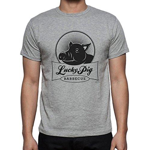 Pig Animal Farm Hog Black Logo Herren T-Shirt Grau