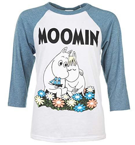 Classic Moomins White and Blue Raglan Baseball T Shirt -