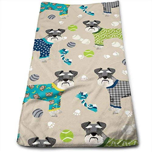 Schnauzers In Jammies Cute Dogs In Pajamas Pyjamas - Sand Hand Towels Dishcloth Floral Linen Hand Towels Super Soft Extra Absorbent for Bath,Spa and Gym 12