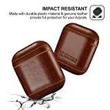 AirPods Case, Icarer Premium Genuine Leather Portable Shockproof Protective Cover for Apple AirPods 1&2 Earphones Charging Case (Front LED Not Visible) Support Wireless Charging (Brown)