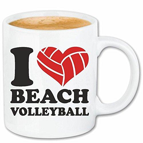 Reifen-Markt Kaffeetasse I Love Beach Volleyball - Strand Volleyball - Volleyball Spieler - Volleyballspielerin - Volleyball Keramik 330 ml in Weiß