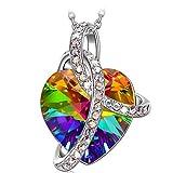 J.RENEÉ 'Liebes Herz Anhänger schmuck, mit Swarovski Kristall, Halskette Damen, schmuck Damen, Geschenke für Frauen, Kette Damen, (Liebe Herz Bunte)