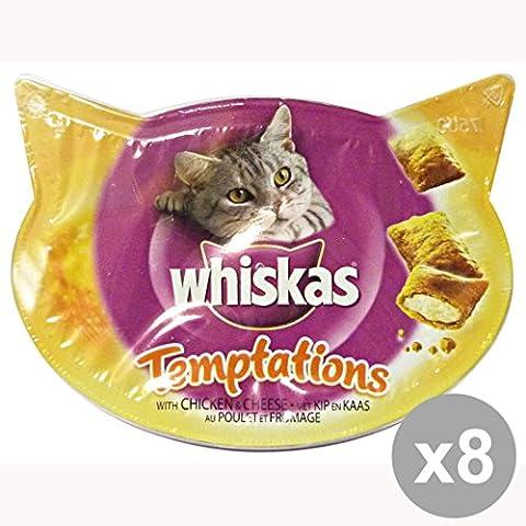 Set 8 WHISKAS Biscotti TEMPTATION Pollo & Formaggio 60 Gr. Cibo per gatti