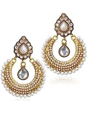 Weisse Steine wie Blumen indisch ADIVA Tracht Ohrring ACEAZ001WH Handarbeit