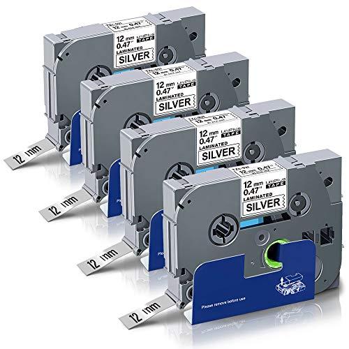 UniPlus 4x Tze-931 Tze931 Tze Tape 12mm 0.47 Laminato Nastro Cassette Etichette Compatibile per Brother P-Touch PT Cube H100LB H101C P700 E100 D400VP D400 1000 1005 H107, 12mm x 8m, Nero su Argento