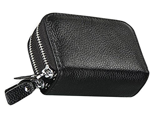 iSuperb® RFID carte de crédit Blocage de portefeuille en cuir véritable Business ID Card Purse Security Travel Holder Pocket avec fermeture éclair pour les femmes Homme 11x7.5x4cm (Noir)