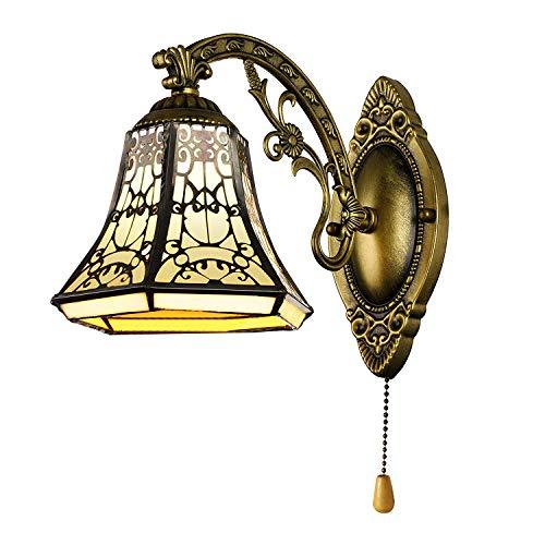 Vintage Wandleuchte Lampe Leuchte, Tiffany Stil Glasschirm - Wandlampe mit Schalter, E27 Wandbeleuchtung für Küchen Esszimmer Wohnzimmer Lampe