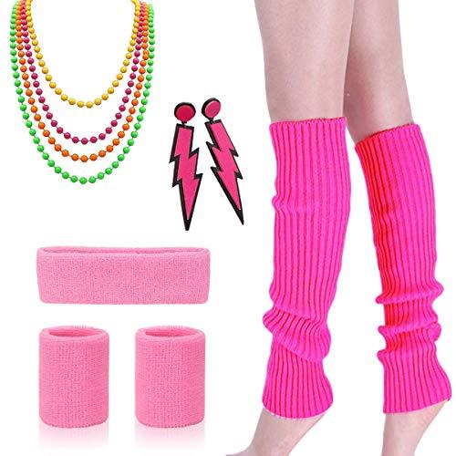 80er Jahre Kostüm Zubehör - Damen 80er Party kostüm Zubehör Kunststoff Neon Halsketten Stirnband Beinlinge Perlen Halsketten und Armbänder Fischnetz Handschuhe für Mädchen Frauen Night Out - 80er Jahre Familie Kostüm