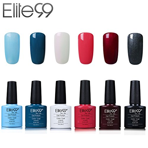 Elite99 Esmalte de Uñas Semipermanente Uñas de Gel UV LED Kit de Manicura 6pcs con 10pcs de Quitaesmaltes Pintauñas Soak off Base Coat Top Coat - Kit 011