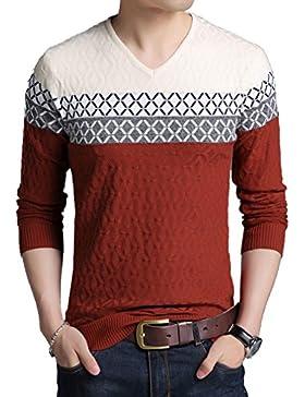 WTUS Original Cotton Blend V Neck-Suéter Hombre Slim Fit