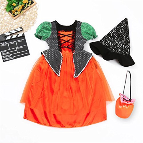 happy event Halloween Kleinkind Baby Mädchen Baumwolle Party Kleid Kostüm Outfits Kleidung +Hut+Tasche Sets| Halloween Toddler Infant Baby Girl Dress+Hat+Bag Outfits Clothes Sets ()